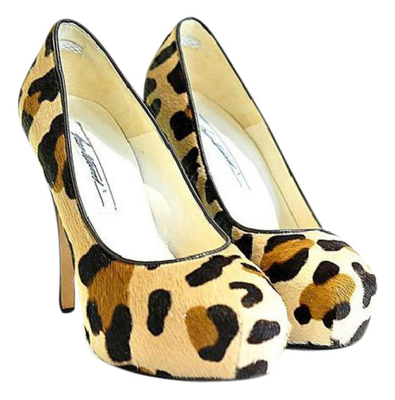 Brian Atwood Brown Leopard Platform Pony Hair Pumps Size 5