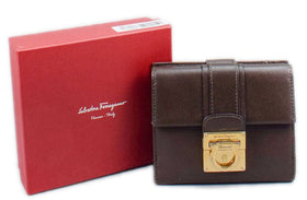 Salvatore Ferragamo Brown Leather Gancini Wallet