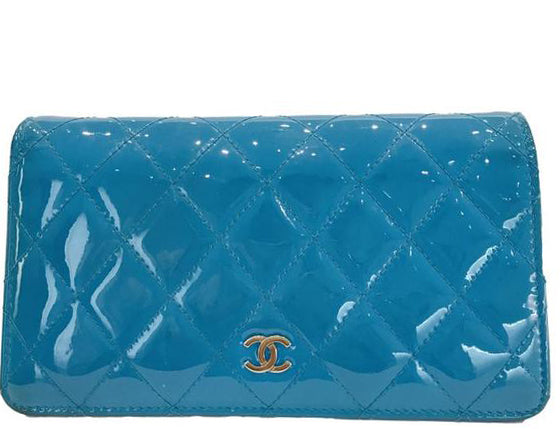 Chanel Blue Patent Yen Wallet