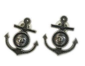 Chanel Silver Metal Anchor CC Clip On Earrings