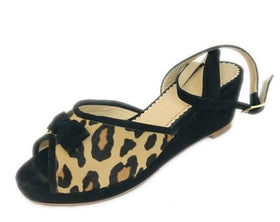 Charlotte Olympia Black Alexa Leopard Pony Hair Sandals Wedges Size 35
