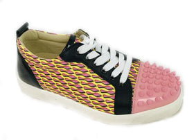 Christian Louboutin Pink Yellow Louis Junior Spikes Sneakers Size 37.5