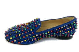 Christian Louboutin Multicolor Rolling Spikes Flat Loafers Size 36.5