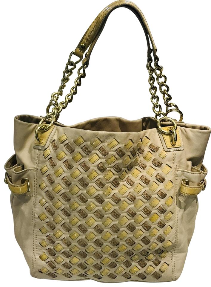 Coach Intrecciato Nappa Beige Taupe Leather Tote