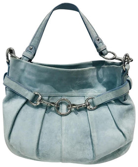 Coach Hobo Legacy Blue Suede Leather Shoulder Bag