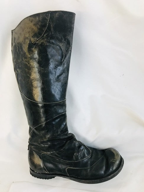 CYDWOQ Black Distressed Knee Boots Size 38