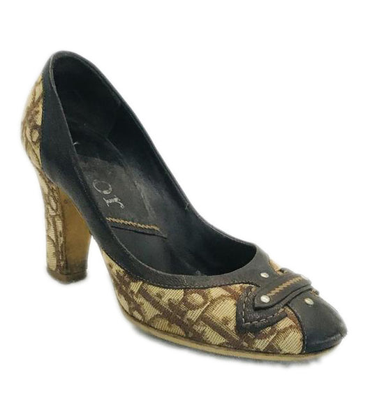 Dior Brown Monogram Diorissimo Canvas Pumps Size 36