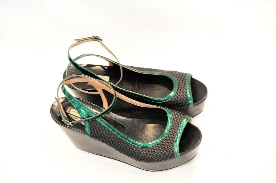 Dries Van Noten Black Interwoven Sandals Wedges Size 38