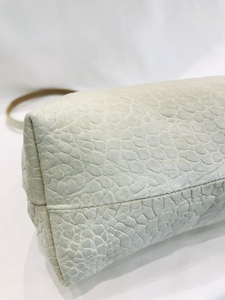 Dries Van Noten Crocodile Stamped Kiss Lock Off White Leather Satchel (NWT)