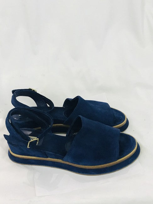 Dries van Noten Navy Suede Ankle Strap Wedges Sandals Size 41 (NWT)