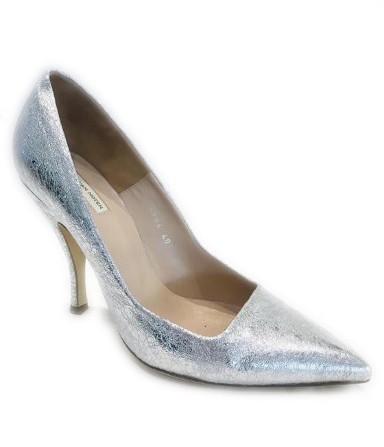 Dries van Noten Silver Metallic Leather Pointed Pumps Size 40