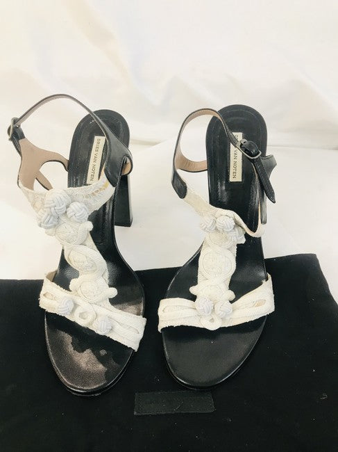 Dries van Noten White Crocheted T Strap Sandals Size 39