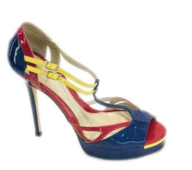 Fendi Multicolor Color Block Blue Red Yellow Peep Sandals Size 38