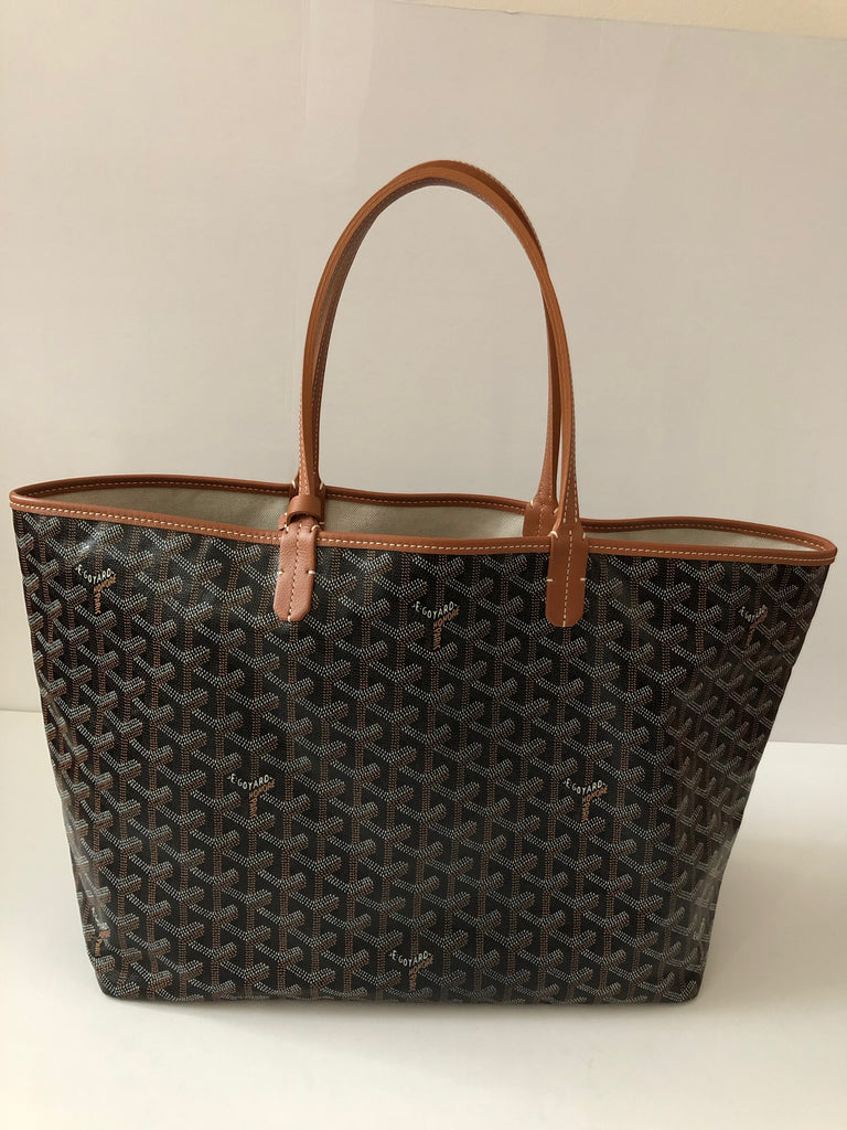 Goyard St. Louis Black with Tan Trim PM Tote