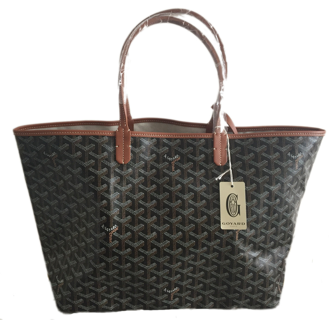 Goyard St. Louis Black w/ Brown Trim PM Tote (NWT)