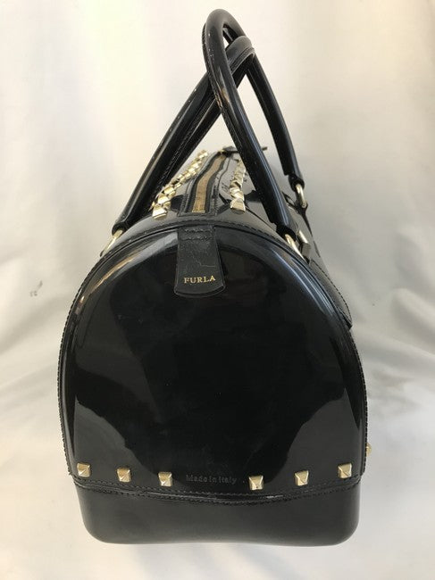 Furla Bon Bon Candy Jelly Rockstud Studded Boston Black Plastic Tote