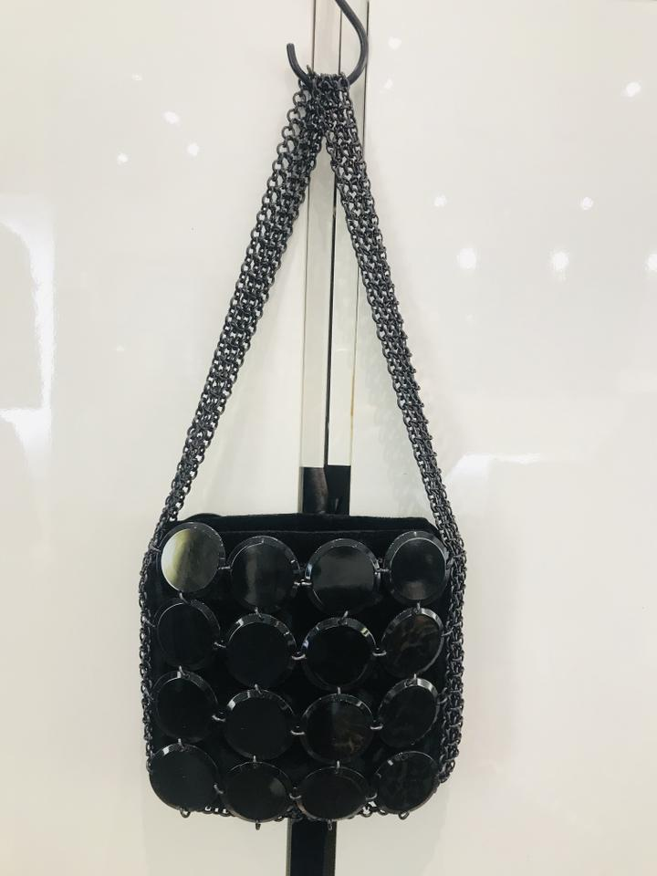 Giorgio Armani Evening Embellished Black Velvet Bag