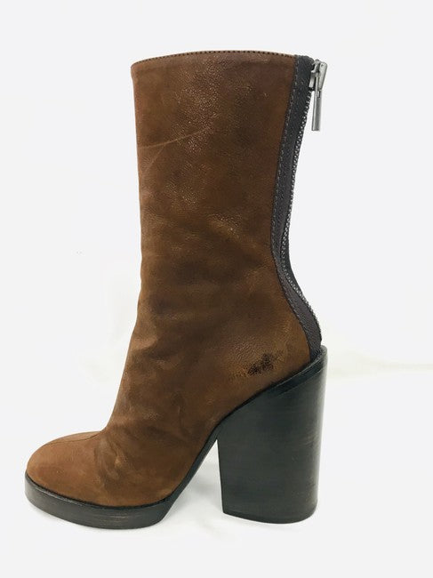 Haider Ackermann Brown Zip Up Mid Calf Boots Size 39