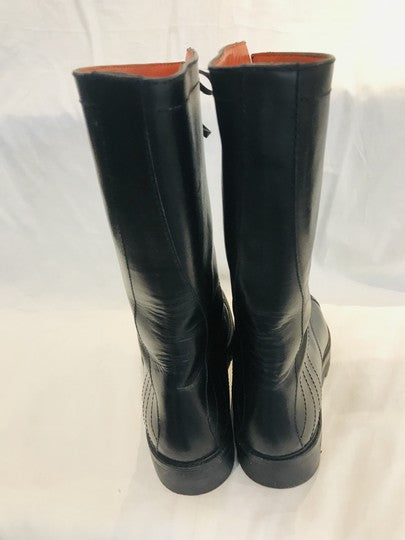 Henry Cuir Black Round-toe Mid-calf Boots Size 38.5