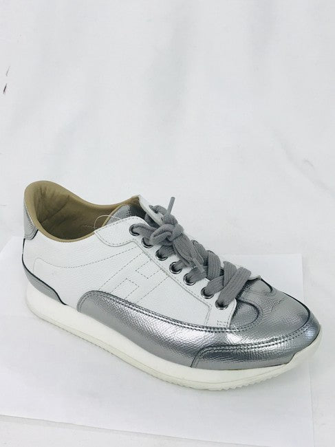 Hermès White Silver Quicker Trainers Sneakers Size 36