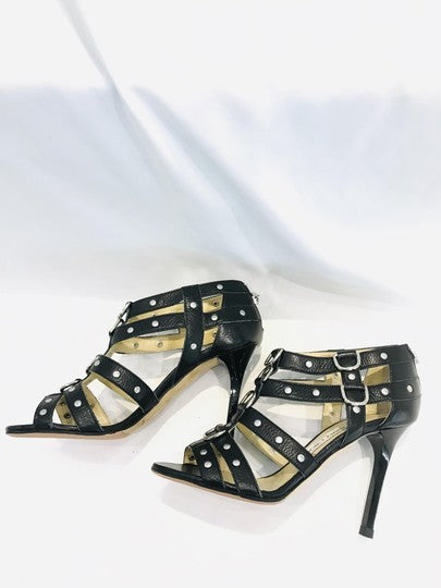 Jimmy Choo Black Leather Caged Sandals Pumps Size 36