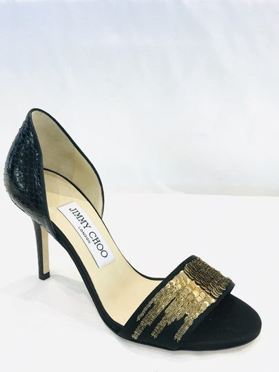 Jimmy Choo Black Sequins Python Pumps Size 35.5 (NWT)