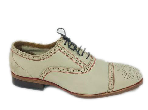 John Fluevog Men's Cream Brandenburg Cap Toe Oxford Formal Shoes Size 7
