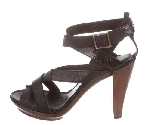 Lanvin Black Leather Ankle-strap Sandals Size 38.5