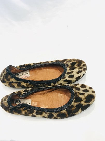 Lanvin Brown Leopard Pony Hair Ballet Flats Size 39.5