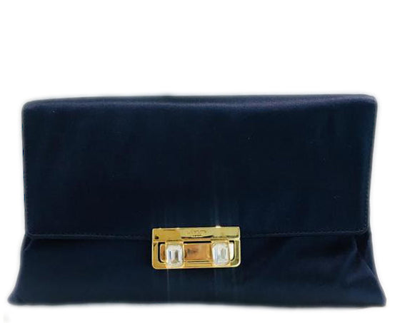 Lanvin Envelope Shoulder Midnight Blue Satin Clutch (NWT)
