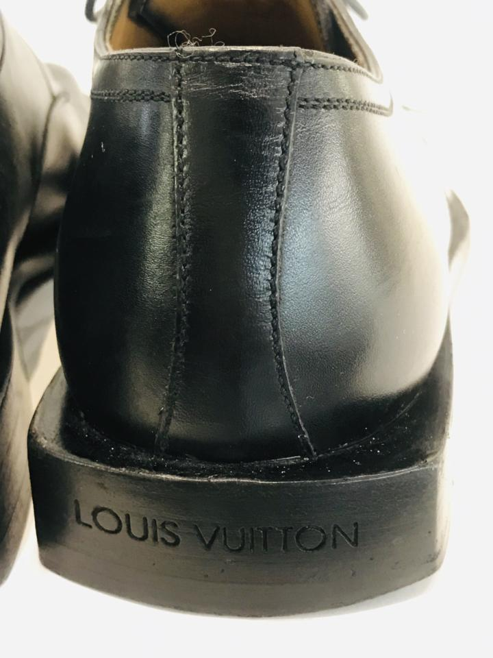 Louis Vuitton Men Black Leather Square-toe Derby Shoes Size 6.5