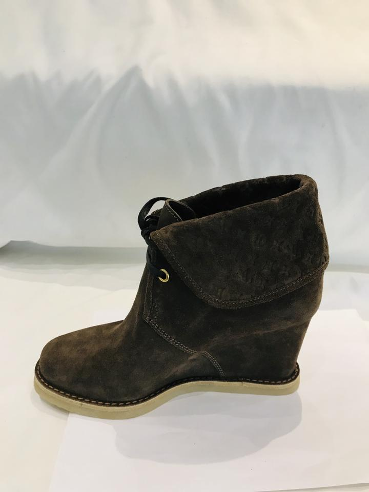 Louis Vuitton Brown Monogram Suede Wedge Ankle Boots Size 36 (NWT)