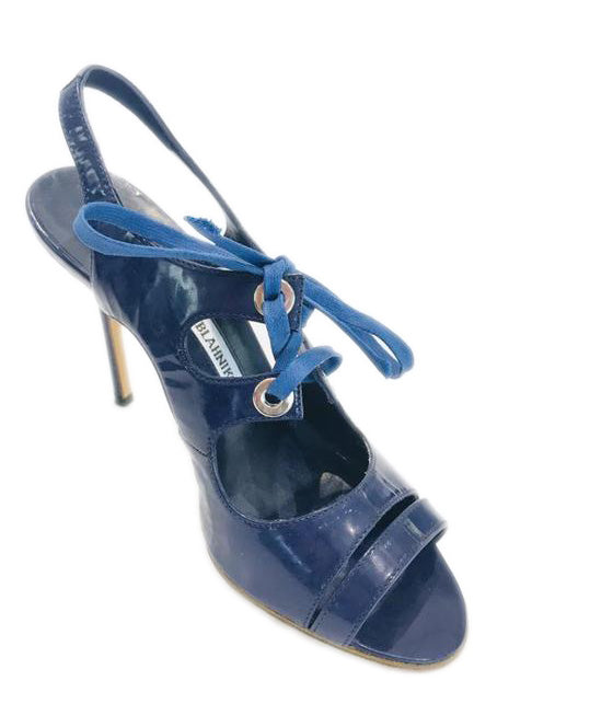 1dedc0de4ac Manolo Blahnik Blue Navy Pump Sandals Sz 35.5