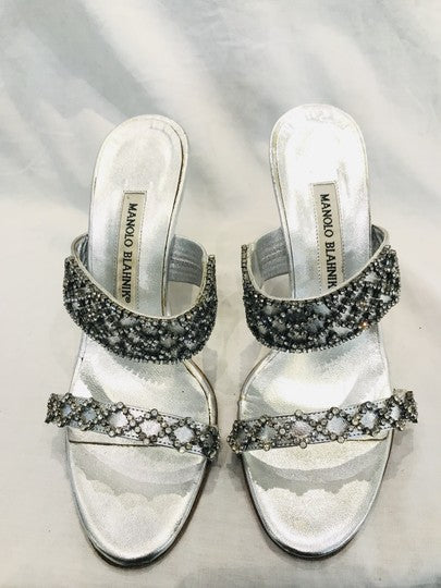 Manolo Blahnik Silver Crystal Embellishment Sandals Size 36.5