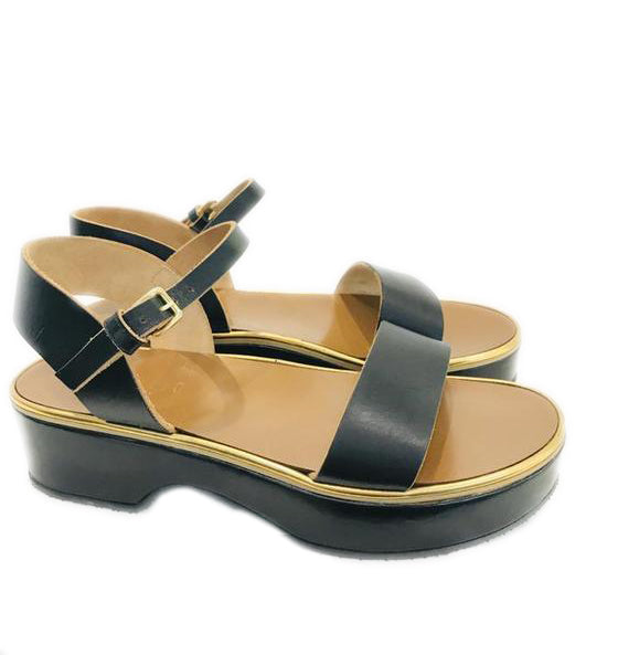 Marni Black Ankle Strap Sandals Wedges Sz 40 (NWT)