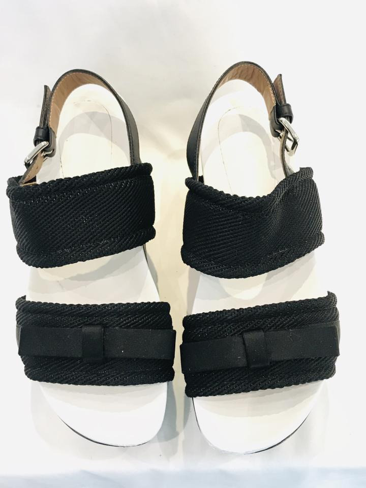 Marni Gray Charcoal Woven Foam Platform Sandal Wedges Sz 38