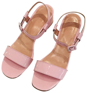Maryam Nassir Zadeh Pink Sophie Patent Leather Sandals Size 37.5 (NWT)