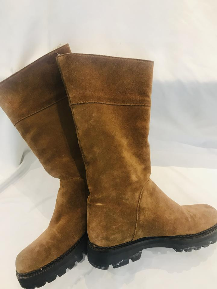Max Mara Brown Shearling Boots Size US 8