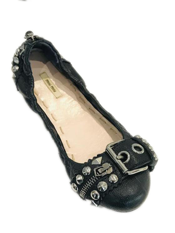 Miu Miu Black Studs Embellished Leather Flats Sz 35.5