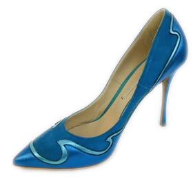 Nicholas Kirkwood Blue Wave Leather & Suede Aqua Pumps Size 38
