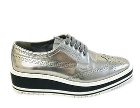 Prada Silver Platform Lace-up Brogues Wedges Size 36