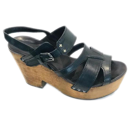 Rag & Bone Black Royston Sandals Wedges Size 7