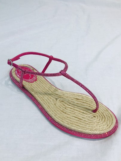 Rene Caovilla Pink Diana Strass Espadrille Crystal Sandals Size US 7 (NWT)