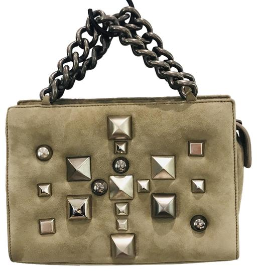 Roberto Cavalli Studded Handle Brown Suede Leather Satchel