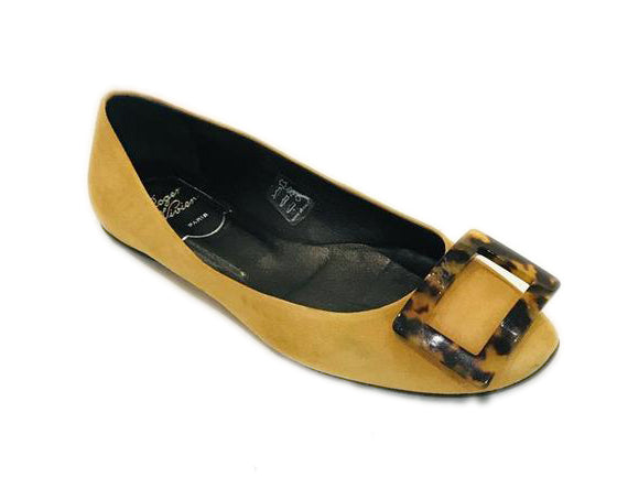 Roger Vivier Yellow Suede Gommette Flats Size 37