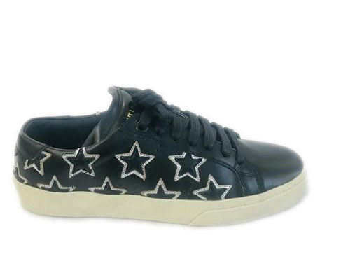 Saint Laurent Black Star Court Classic Low-top Black/Platinum Sneakers Size 35