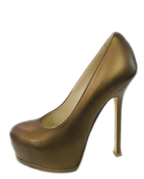 Saint Laurent Bronze Tribute Two Pumps Platforms Size 37