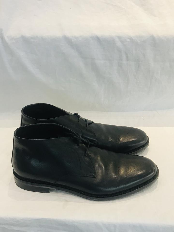 Salvatore Ferragamo Black Felino Men Leather Ankle Boots Size 9.5 Extra Wide