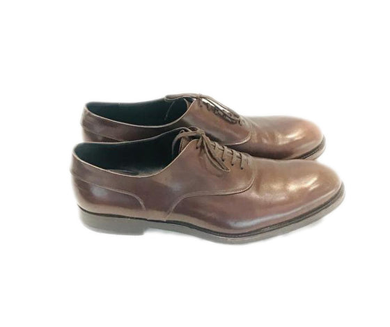 Salvatore Ferragamo Men Brown Cairo Leather Brogue Logo Lace Up Derby Oxfords Flats Size US 12 Extra Wide (WW, EE)
