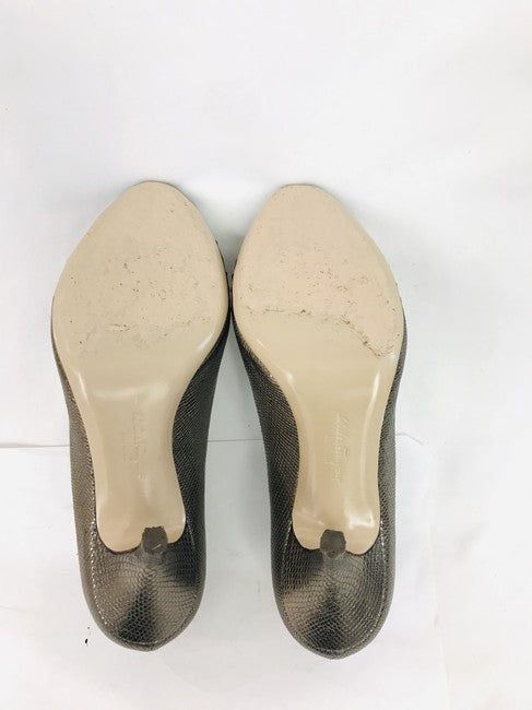 Salvatore Ferragamo Bronze Vera Bow Pumps Size 7.5